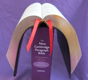 The New Cambridge Paragraph Bible in Calfskin in the same pose.  This Bible is by far the most flexible of the three.